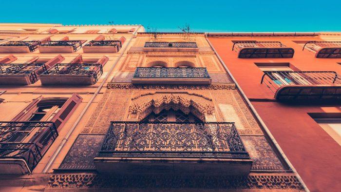 Fachadas del centro histórico de Málaga